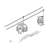 Moses travels down a mountain on a ski-lift  clutching the tablets of the  - New Yorker Cartoon