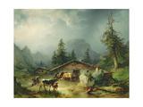 Alpine hut in Rainy Weather  1850