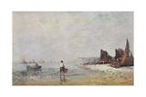 Fisherman in Villerville  Low Tide