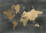 Large Gold Foil World Map on Black Reproduction d'art par Jennifer Goldberger