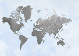 Large Silver Foil World Map on Blue