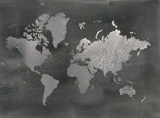 Silver Foil World Map on Black