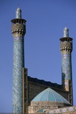 Shah Mosque  Isfahan  Iran  1612-38  Two Cylindrical Minarets of the Main Portal with Tile Mosaics