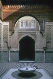 Al-Attarine Madrasa  1323-25  Fez  Morocco  Entrance Door and Courtyard and Ablution Pool