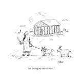 """I'm having my entrails read"" - New Yorker Cartoon"