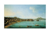 Naples from the West by Antonio Joli  18th C People Walk Near Coast  Mt Vesuvius in Background