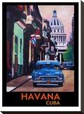 Cuban Oldtimer Street Scene In Havanna Cuba With Buena Vista Feeling Poster 1