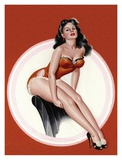 Mid-Century Pin-Ups - Eyeful Magazine - Brunette in a Red Bathing suit