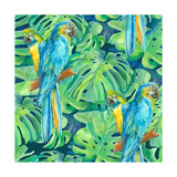Seamless Pattern Element of Two Ara Parrots and Leaves of Monstera Reproduction d'art par NadiiaZ