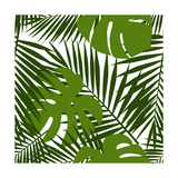 Palm Leaf and Monstera Silhouettes Seamless Pattern Reproduction d'art par Novichok