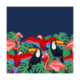 Tropical Birds Seamless Pattern with Palm Leaves Reproduction d'art par Incomible