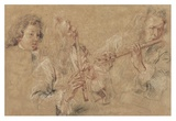 Two Studies of a Flutist and a Study of the Head of a Boy