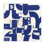 Collaged Letters Blue D