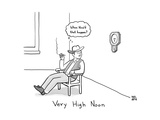 TITLE: Very High Noon A cowboy looking at a clock pointing somewhere arou - New Yorker Cartoon