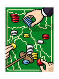 Boundries are played with poker chips - Cartoon