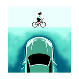 A car emerges from the deep toward a bicyclist - Cartoon