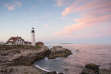 Pink Clouds Streak the Sky around Portland Head Light