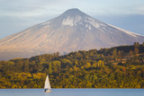 A Sailboat in Lake Villarrica Passes by the Villarrica Volcano