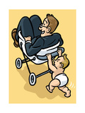 A baby begrudgingly pushes his father in a stroller - Cartoon
