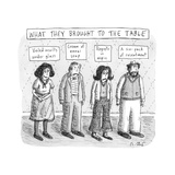 What They Brought to the Table -- a line up of relatives under titles of n - New Yorker Cartoon