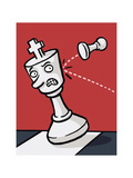 A pawn knocks over a King - Cartoon