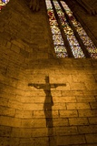 The Shadow of a Crucifix Is Projected on the Wall of the Church of Santa Maria De Porqueres