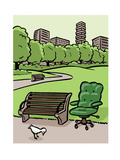 A office chair sits in the park - Cartoon