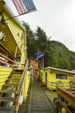 A Bright Yellow Home Adorned with the Alaska State Flag  the American Flag  and Moose Antlers