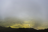 Looking Through the Mist Towards Wast Water from the Top of Crinkle Crags  English Lake District