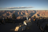 Tourists Gathered for the Sunset View at Mather Point  on the South Rim of the Grand Canyon