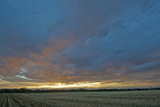 A Magnificent Sunset Sky over a Harvested Field in the Gallatin Valley  Montana