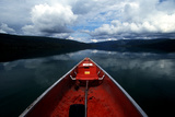 A Scenic Alaska Landscape Seen from the The Front of a Canoe