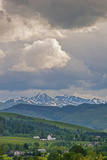 A Summer Thunderstorm Builds over the Spanish Peaks in the Southern Gallatin Valley  Montana