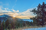 The Sun Sets Behind Mount Ellis in Montana's Gallatin Range of the Rocky Mountains