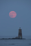 A Large Red Moon over Whaleback Lighthouse