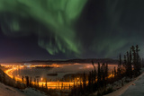 The Aurora Borealis Above the City Lights of Whitehorse