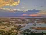 A Sunset Glows over the Marshy Shoreline of Utah's Great Salt Lake  Near Salt Lake City