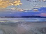 A Sunset Glows over Great Salt Lake and Antelope Island Near Salt Lake City  Utah