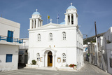A Church in Parikia  in the Traditional Greek Blue and White Colors