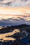 Sunset Falls over an Arctic Fishing Village on a Rugged Island