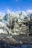 Erosion from Ice Against Rock Deposits Silt and Soil Sediment  Face of a Glacier Fracture Zone