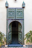 An Arched Painted Door in Le Jardin Des Biehn  a Riad or Small Hotel in the Medina of Fez