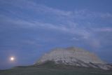 A Butte and the Full Moon in the Oglala National Grassland