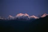 Sunrise on Kabru  Center  and Kanchenjunga  Right  the World's 3rd Highest Mountain