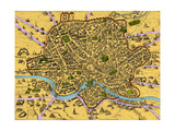Map of Rome  1500s