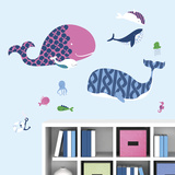 Sea Whales Peel and Stick Giant Wall Decals