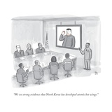 """We see strong evidence that North Korea has developed atomic hot wings"" - New Yorker Cartoon"
