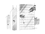 Superman flies through several building  with his attention focused solely - New Yorker Cartoon