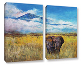 Elephant Landscape 2 Piece Gallery Wrapped Canvas Set