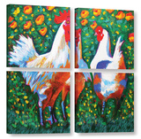 Chickens 4 Piece Gallery Wrapped Canvas Set